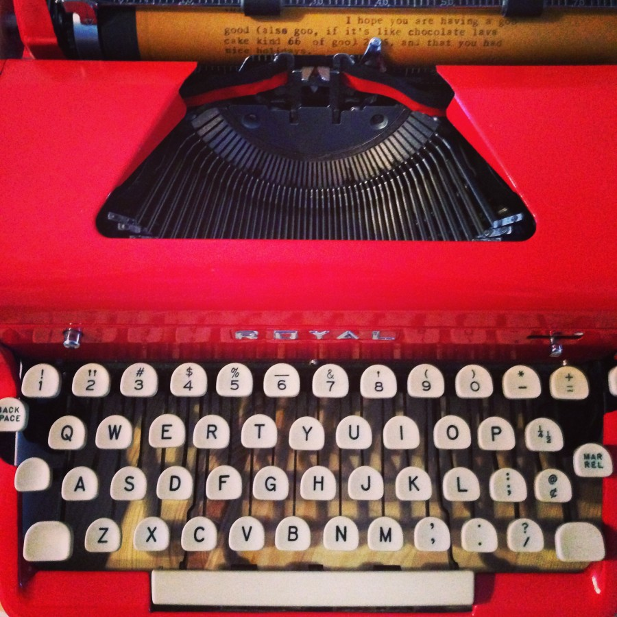 Red 1950s Royal typewriter