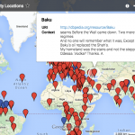 """An illustrated world map with red pins marking locations mentioned in Cassity's poetry. """"Baku"""" is highlighted."""