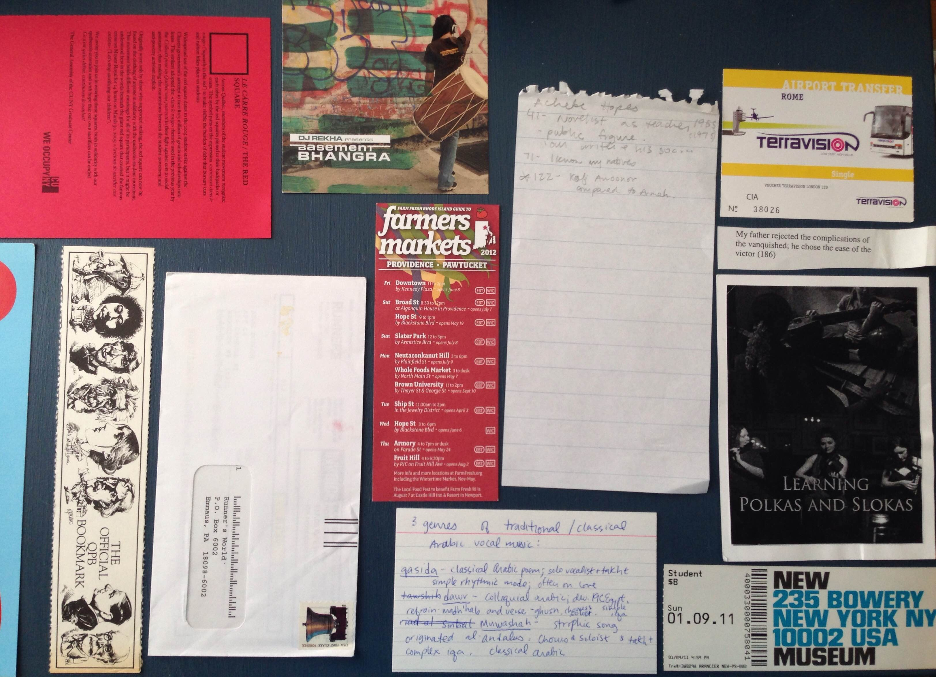An assortment of fliers, postcards, scraps of papers, tickets laid out on a table.