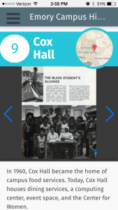 A page with photographs and text about the Black Student's Alliance, at the Cox Hall tour stop on the Emory Campus History Tour.