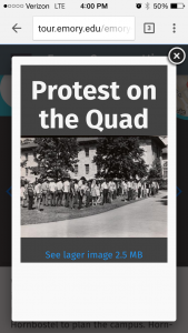 "The tour interface presents an image captioned ""Protest on the Quad,"" with a number of students standing on the lawn at a demonstration."