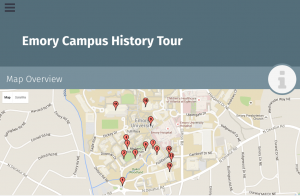 A map of campus with red pins indicating the location of each tour stop on campus.