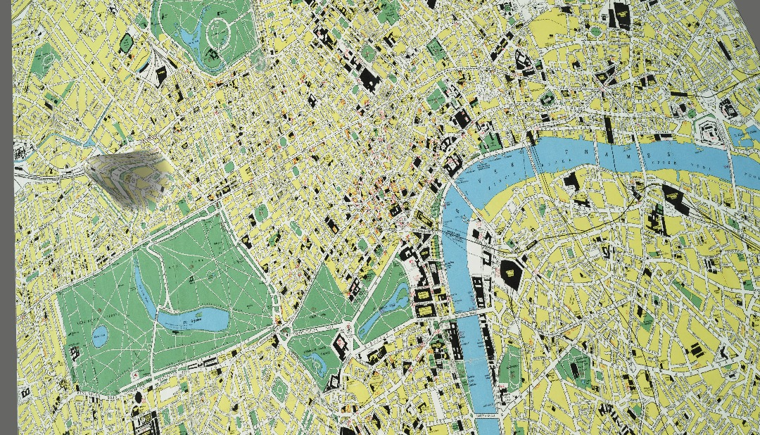 A fragment of a map of London, with a single peak north of Hyde Park.