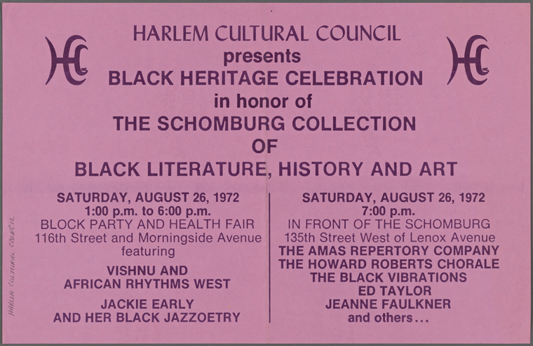 "Pink poster announcing ""Harlem Cultural Council presents Black Heritage Celebration in honor of The Schomburg Collection of Black Literature, History, and Art,"" dated 1972"