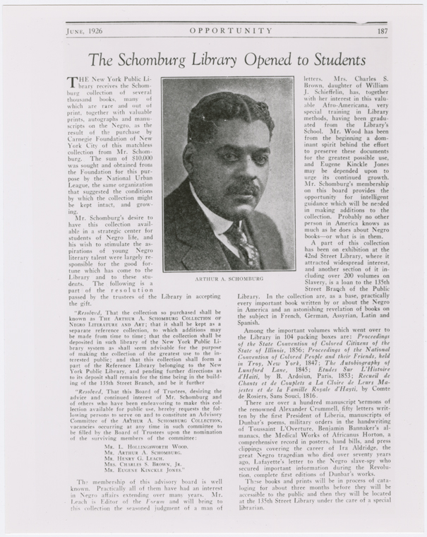 "Schomburg Center for Research in Black Culture, Photographs and Prints Division, The New York Public Library. ""Opportunity magazine article, ""The Schomburg Library Opened to Students,"" June 1926."" The New York Public Library Digital Collections. 1926."