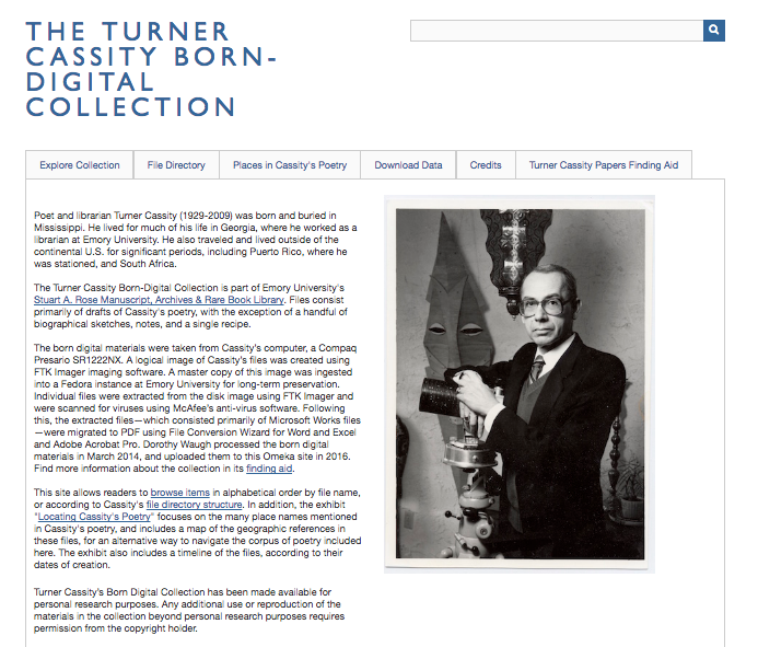 """A screenshot of the homepage of the project site. The title (""""The Turner Cassity Born-Digital Collection"""" appears in large blue letters. below the title, menu items and paragraphs of text appear beside a black and white photograph of Cassity standing beside a telescope, and in front of a long, angular mask hanging on the wall."""