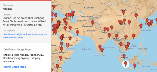 "A screen shot of the map of locations in Cassity's poetry. The map shows part of Africa and much of Asia, with many red pins dotting the map. One pin is highlighted, and the info box on the side of the map identifies ""Krakatoa"" and provides the context where the locations appears: ""Chunnel. (Do not sneer; The French dug Suez). Shots heard round the world Need not be metaphor, as Krakatoa proved."" The box also provides a link to poem where the location appears: http://cassity.digitalscholarship.emory.edu/items/show/2940 ."