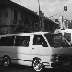 A minibus taxi in a Joburg street intersection.