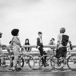 Group of cyclists stopped on Nelson Mandela Bridge, Joburg