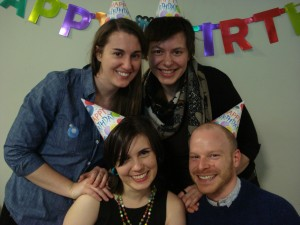 Happy birthday, OpenCUNY, with current coordinators and OpenCUNY founder.