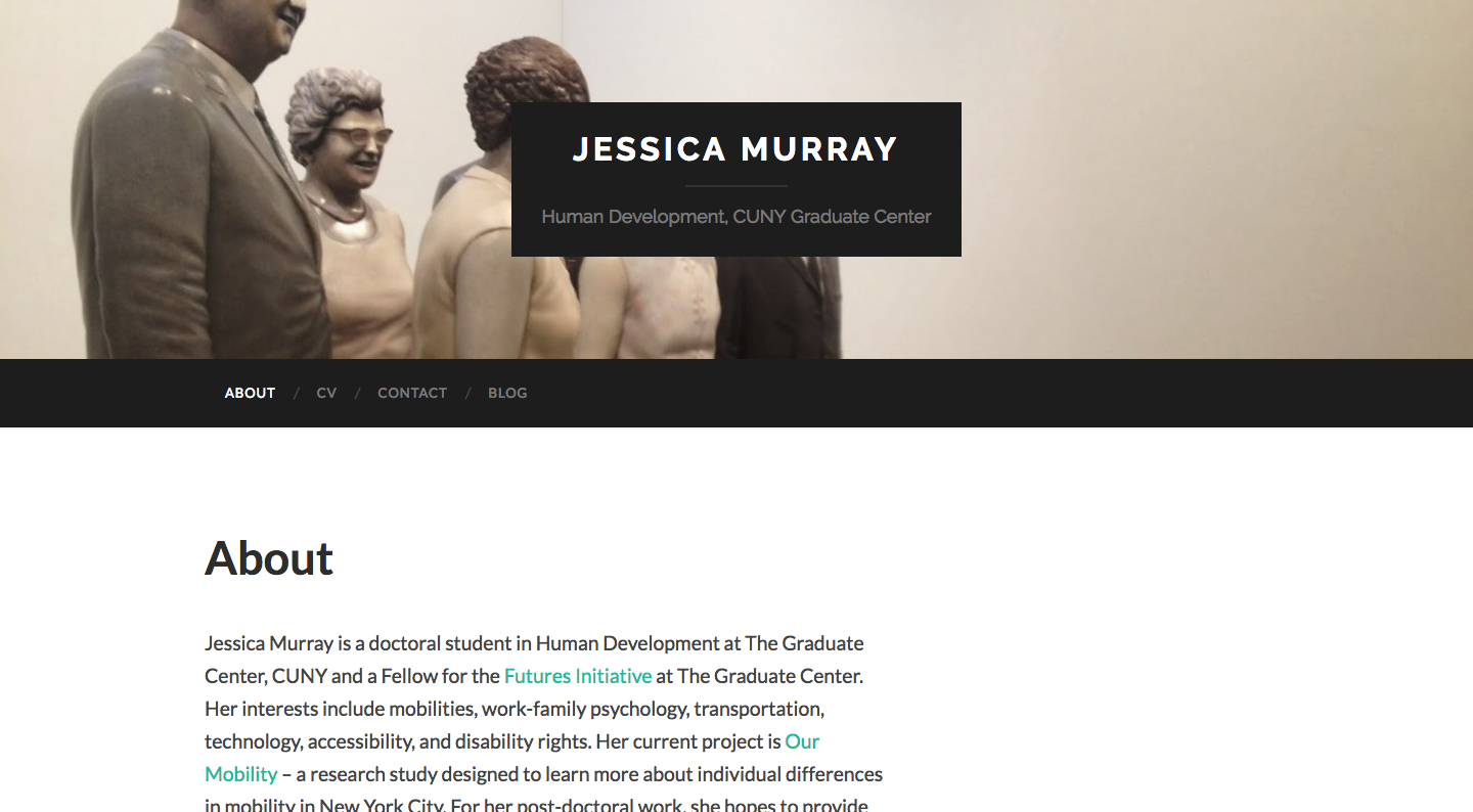 homepage of student site