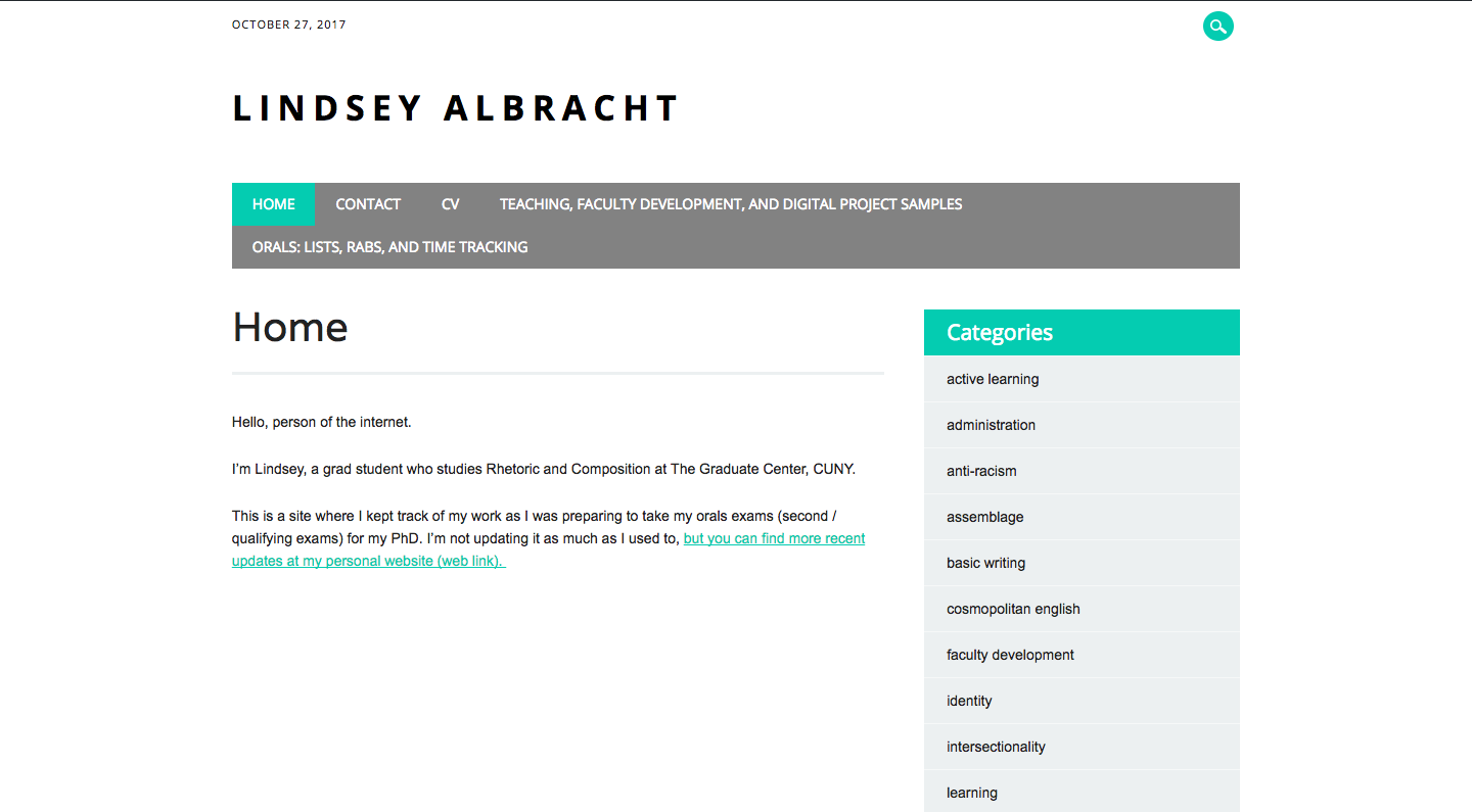 Homepage of Lindsey Albracht's site.