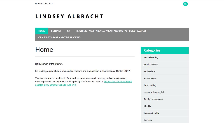 Homepage of Lindsey Albracht's site.