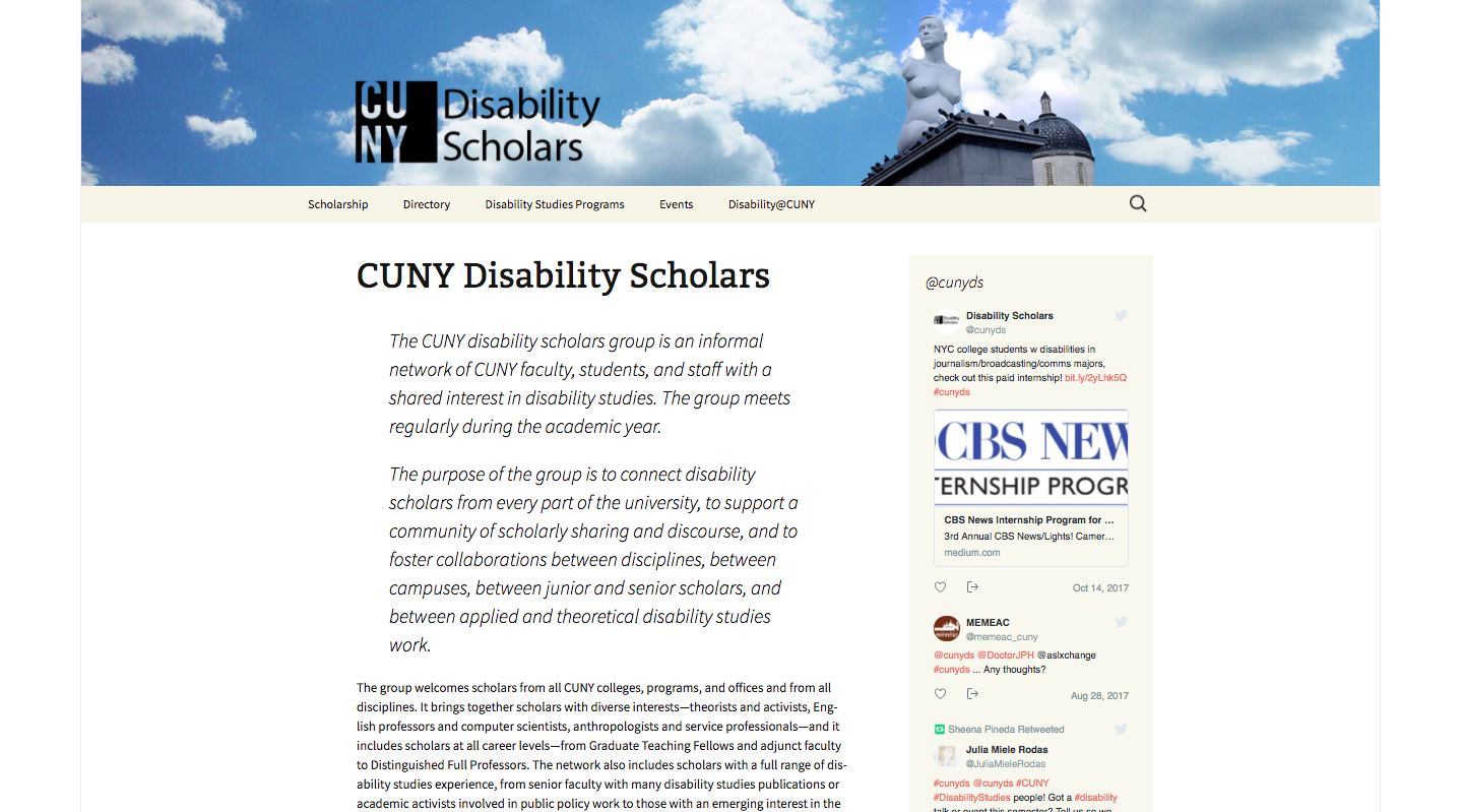 site of CUNY Disability scholars
