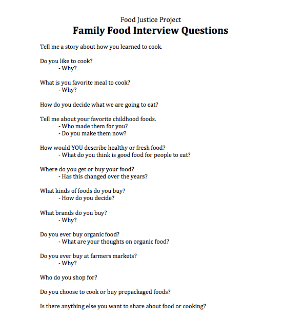 Family food interview questions