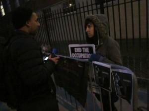 "The ""Anti-Zionist"" police barricade, Brooklyn College, 2/7/13"