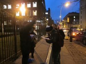 "The ""Zionist"" police barricade, Brooklyn College, 2/7/13"
