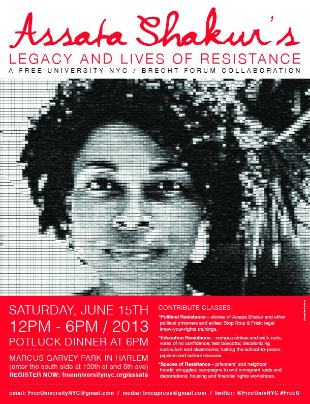Flyer for June 15 Assata Shakur Free University - The Free
