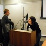 C. Karamperidou & Gerry Rustic of GEOS discussing her work.