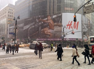 Beckham in his underwear in the snow