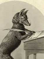 Illustration, Fox writing with a quill pen, J. Mason, G. Greatbach, 1852, New York Public Library