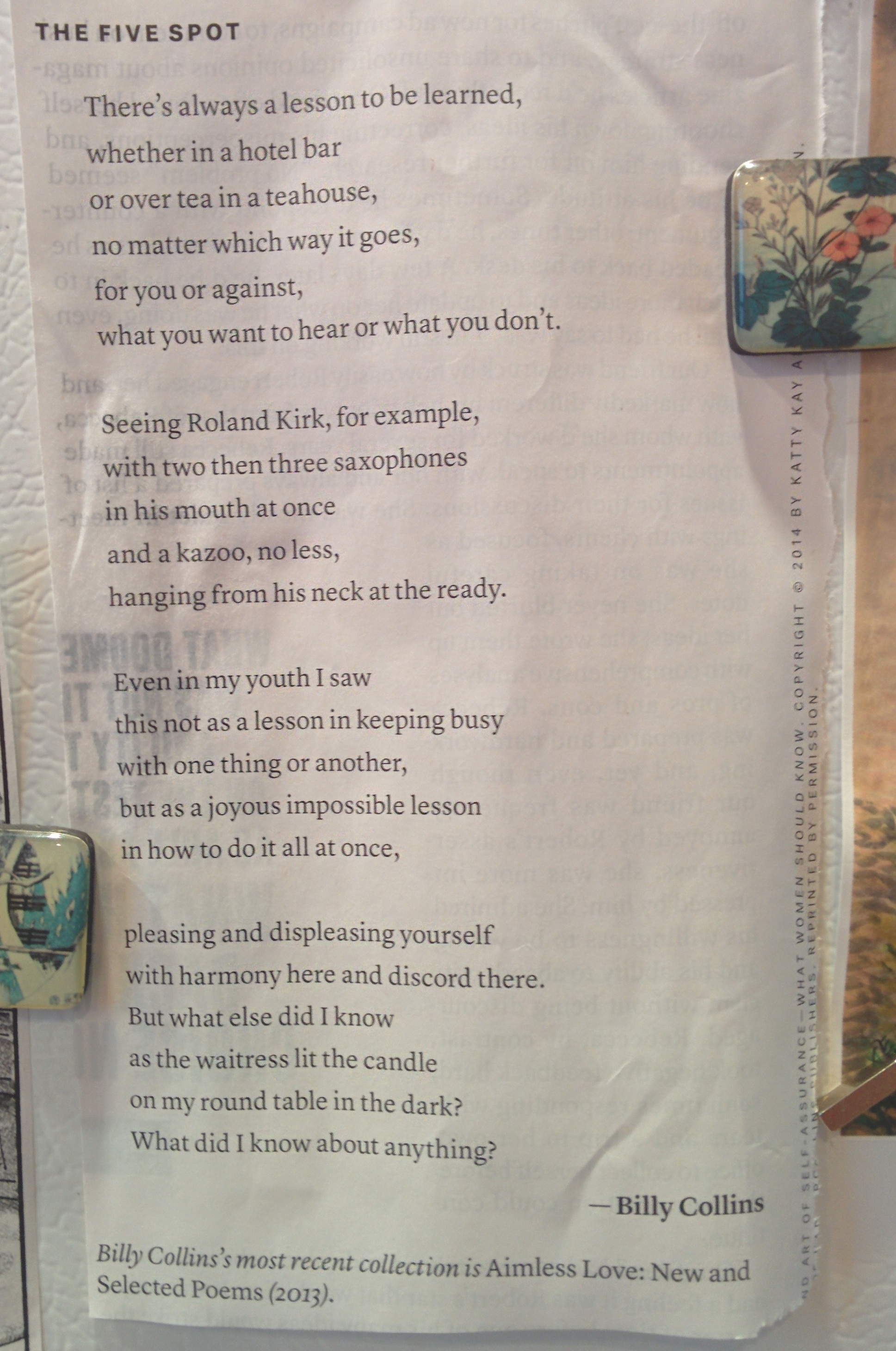 The Five Spot by Billy Collins