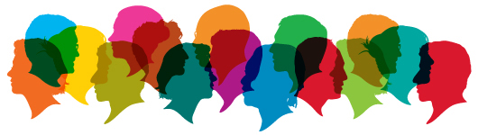 Silhouettes of different busts (heads) in different colors.
