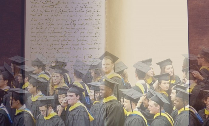 Composite image of a book with handwriting on one page and another empty page, overlaid with a picture of diverse college graduates