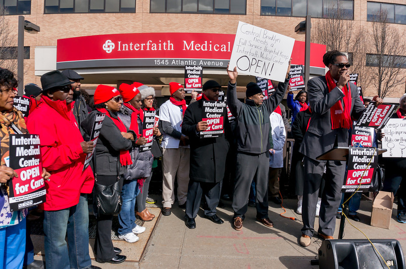 Protesters at Interfaith Medical Center in 2015. See photo at source (The Brooklyn Reader).