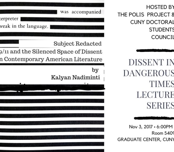 Dissent in Dangerous Times – Kalyan Nadiminti on Nov 3rd